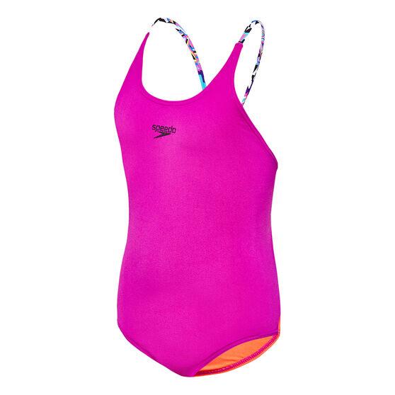 Speedo Girls Tie One-Piece Swimsuit, Purple, rebel_hi-res