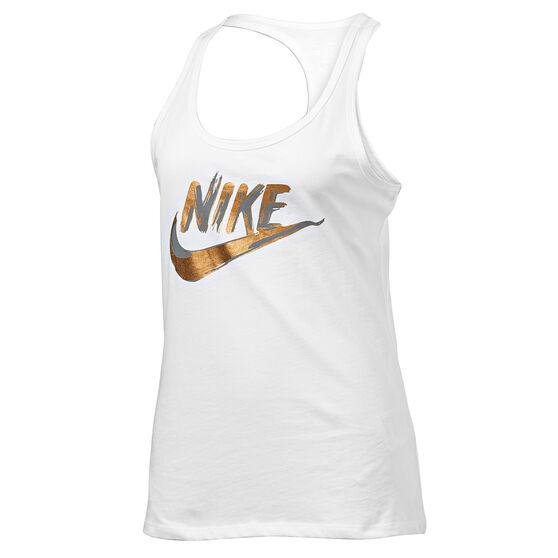 Nike Womens Sportswear Metallic Tank, White, rebel_hi-res