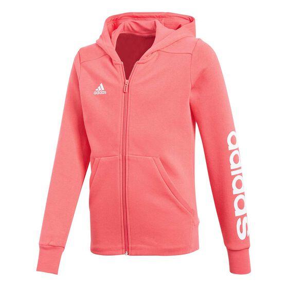 bc1ab2e18e0 adidas Girls 3 Stripes Mid Hoodie Pink / White 12, Pink / White, rebel_hi