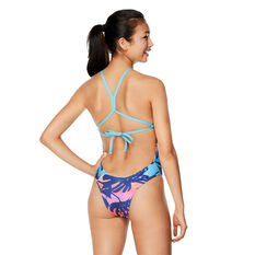 Speedo Womens Printed High Neck One Piece Swimsuit Blue 8, Blue, rebel_hi-res