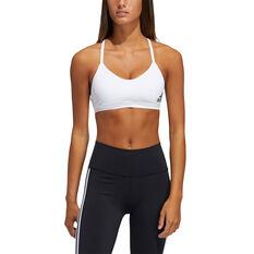 adidas Womens All Me Padded Sports Bra White XS, White, rebel_hi-res