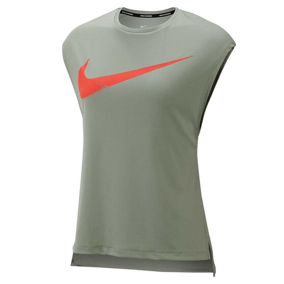 Nike Womens Dri FIT Graphic Running Tee, Green, rebel_hi-res