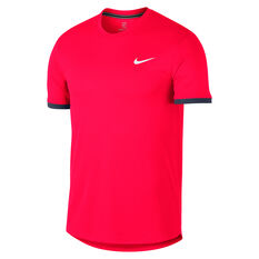 NikeCourt Mens Dri FIT Short Sleeve Colour Block Tennis Top Red S, Red, rebel_hi-res