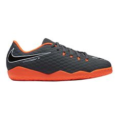 Nike Hypervenom PhantomX III Academy Junior Indoor Soccer Shoes Grey / Orange US 1, Grey / Orange, rebel_hi-res
