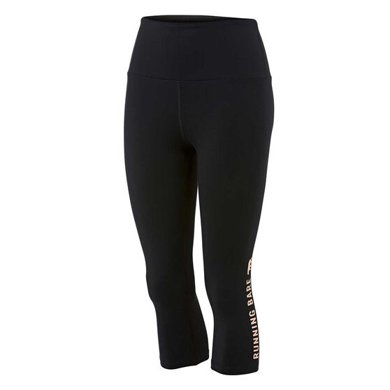 Running Bare Womens What WOTS 3/4 Tights, Black, rebel_hi-res