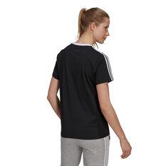 adidas Womens Essentials 3-Stripes Boyfriend Tee Black XS, Black, rebel_hi-res