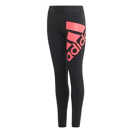 adidas Girls Badge of Sport Tights, Black / Pink, rebel_hi-res