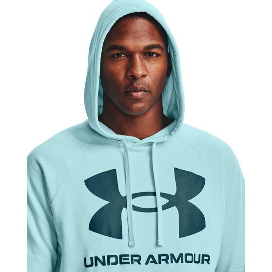 Under Armour Mens Volume Fleece Rival Big Logo Hoodie, Blue, rebel_hi-res