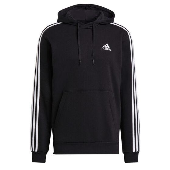adidas Mens Volume Fleece 3 Stripes Hoodie, Black, rebel_hi-res