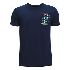 Under Armour Boys Triple Stack Tee Navy XS, Navy, rebel_hi-res