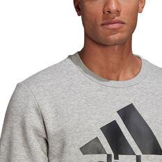 adidas Mens Volume Fleece Big Logo Sweatshirt, Grey, rebel_hi-res