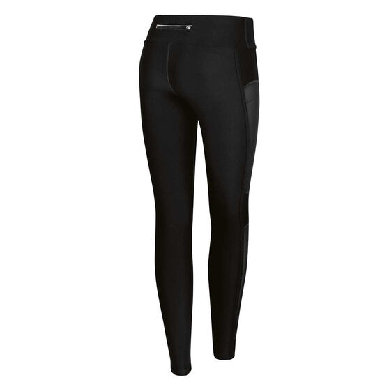 Running Bare Womens In the Zone High Rise Full Length Tights, Black, rebel_hi-res