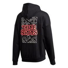 adidas Mens 3 Stripes Cloud Fleece Hoodie Black S, Black, rebel_hi-res