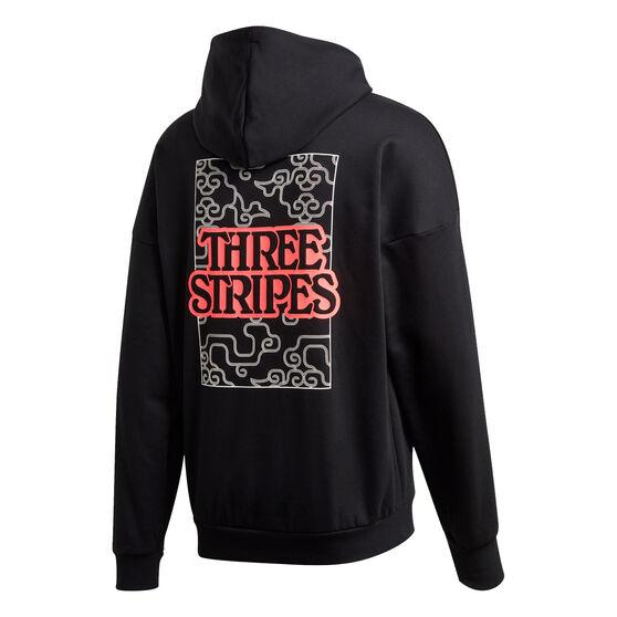adidas Mens 3 Stripes Cloud Fleece Hoodie, Black, rebel_hi-res