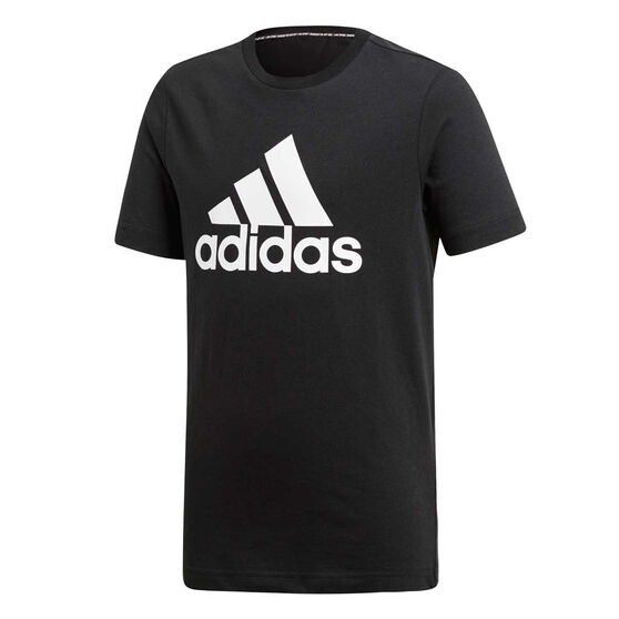 adidas Boys Badge Of Sport Tee, Black / White, rebel_hi-res