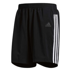 adidas Mens 3 Stripes Running Shorts Black / White S, Black / White, rebel_hi-res