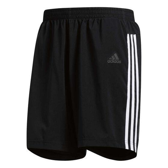 adidas Mens 3 Stripes Running Shorts, Black / White, rebel_hi-res