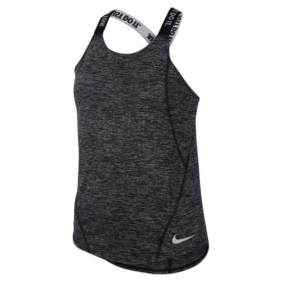 Nike Girls Dri-FIT Elastika Tank, Black / White, rebel_hi-res