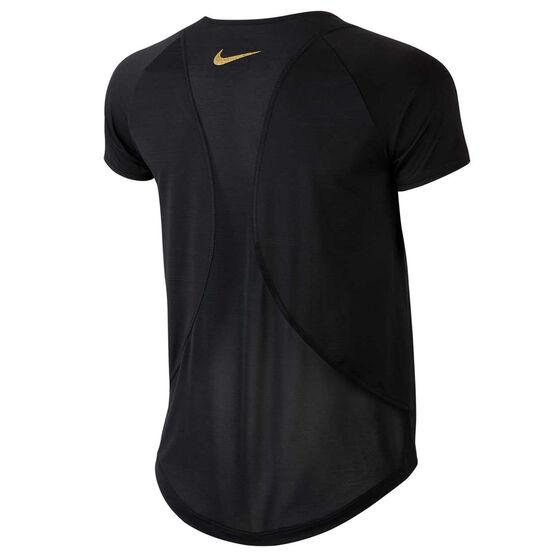 Nike Womens 10K Glam Dunk Running Tee, Black, rebel_hi-res