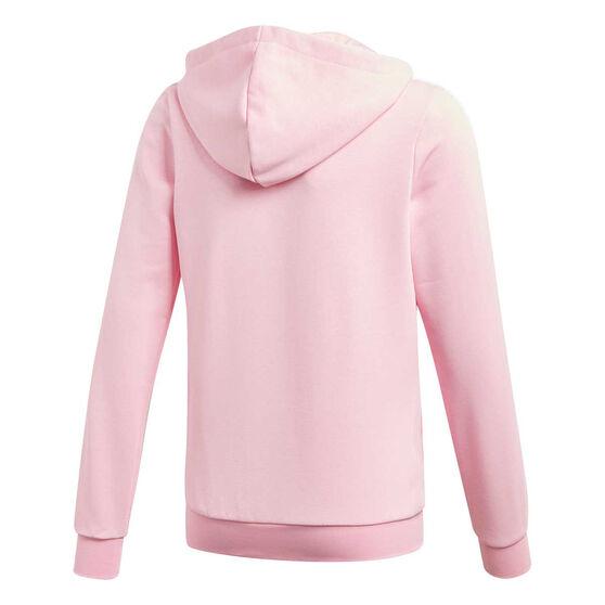 adidas Girls 3 Stripes Full Zip Hoodie Pink / White 6, Pink / White, rebel_hi-res