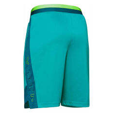 Under Armour Boys Stunt 2.0 Shorts Blue / Green XS, Blue / Green, rebel_hi-res