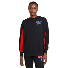 Nike Womens Dri-FIT Get Fit Fleece Graphic Sweater Black XS, Black, rebel_hi-res