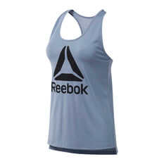 Reebok Womens Workout Ready Supremium Logo Tank Blue XS, Blue, rebel_hi-res