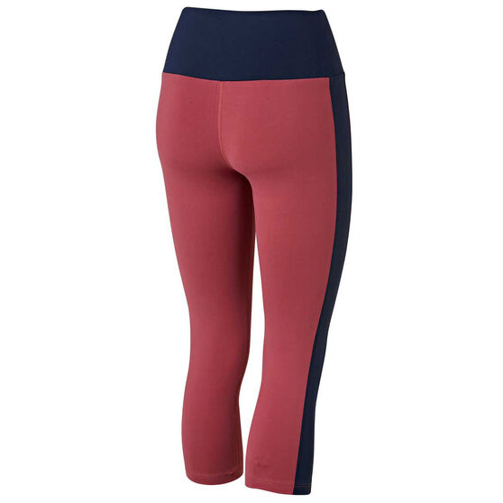 Running Bare Womens Ab Werk It 7 / 8 Tights, Red, rebel_hi-res