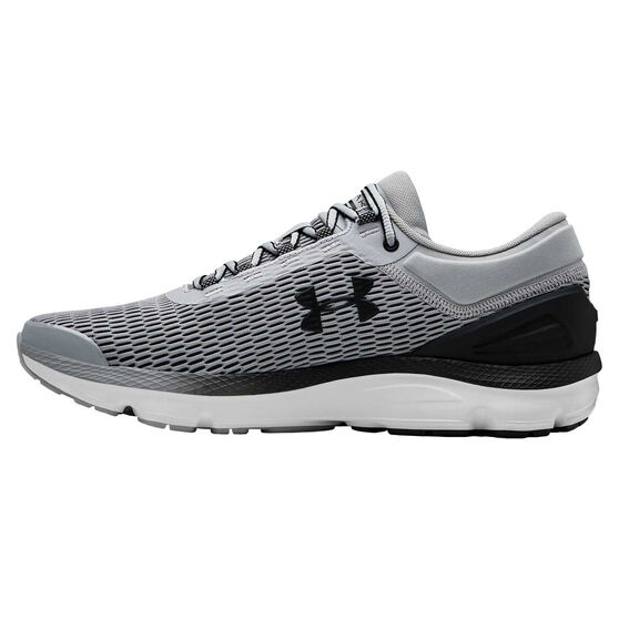 Under Armour Charged Intake 3 Mens Running Shoes, Grey / White, rebel_hi-res