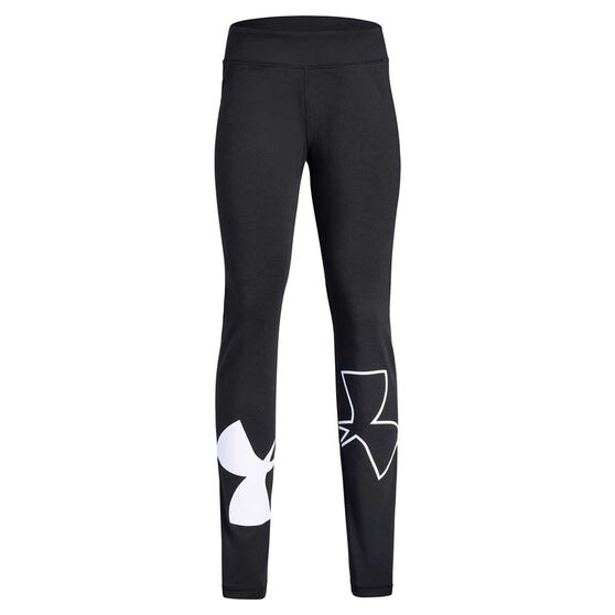 Under Armour Girls Finale Training Tights, Black / White, rebel_hi-res
