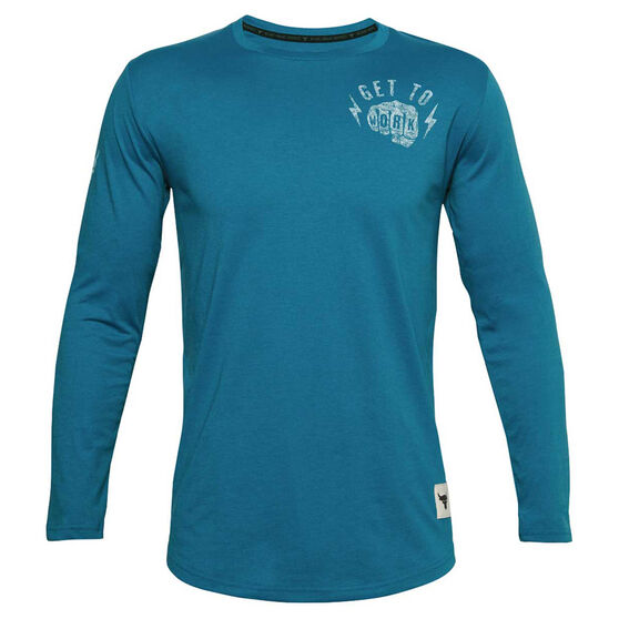 Under Armour Mens Project Rock Get To Work Long Sleeve Tee, Blue, rebel_hi-res