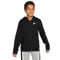 Nike Club Boys Full Zip Hoodie, Black / White, rebel_hi-res