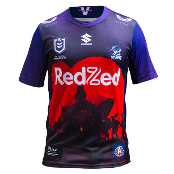 Melbourne Storm 2021 Mens ANZAC Jersey, Purple, rebel_hi-res