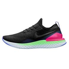 Nike Epic React Flyknit 2 Womens Running Shoes Black / Green US 6, Black / Green, rebel_hi-res