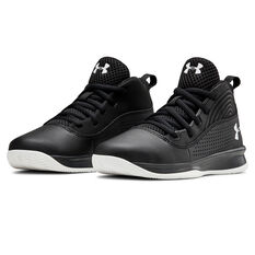 Under Armour Lockdown 4 Kids Training Shoes, Black / White, rebel_hi-res