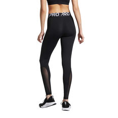 Nike Pro Womens Tights, Black / White, rebel_hi-res