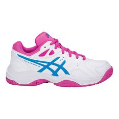 Asics Gel Netburner 18 Girls Netball Shoes White / Blue US 1, White / Blue, rebel_hi-res