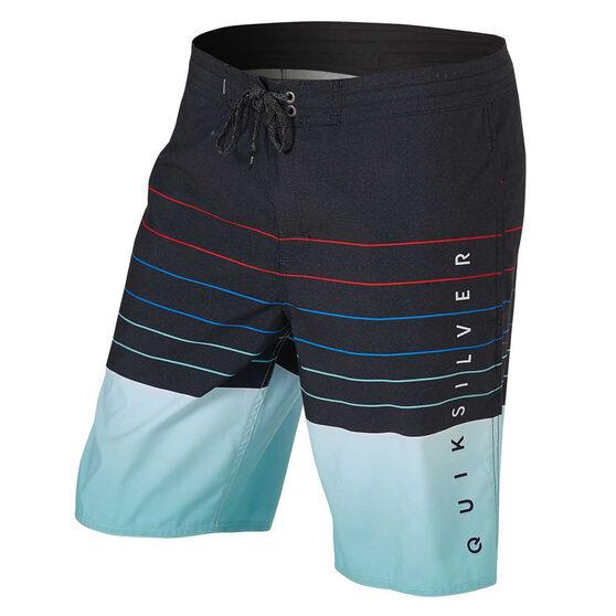 Quiksilver Mens Pointbreak 20 inch Board Shorts Black/Blue 34, Black/Blue, rebel_hi-res