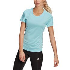 adidas Womens Run It Tee Blue XS, Blue, rebel_hi-res