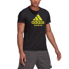 adidas Mens Run Logo Graphic Tee Black S, Black, rebel_hi-res