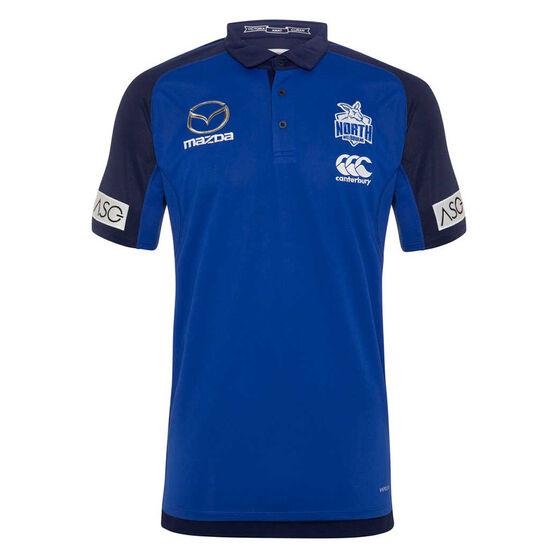 North Melbourne Kangaroos 2020 Mens Media Polo, Blue/Navy, rebel_hi-res