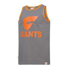 GSW Giants Mens Supporter Logo Tank Grey S, Grey, rebel_hi-res
