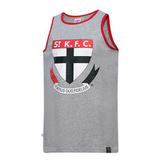 St Kilda Saints Mens Supporter Logo Tank Grey S, Grey, rebel_hi-res