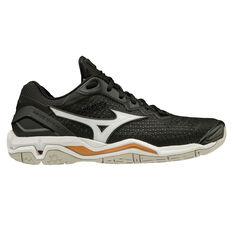 Mizuno Wave Stealth V Womens Netball Shoes Black/White US 6.5, , rebel_hi-res