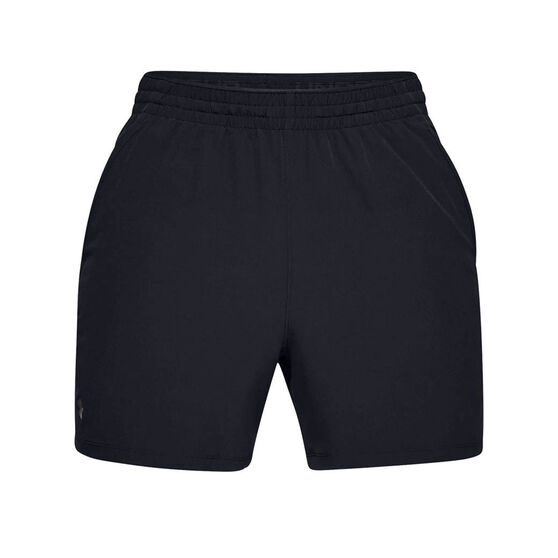 Under Armour Mens Qualifier 5 inch Woven Training Shorts, Black, rebel_hi-res