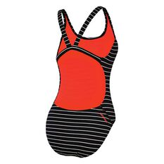 Speedo Womens Limitless Leaderback Swimsuit Black / White 8, Black / White, rebel_hi-res