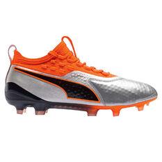 Puma One 1 LTHR Mens Football Boots Black / Orange US 7, Black / Orange, rebel_hi-res