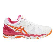 Asics Gel Netburner Super 7 Womens Netball Shoes White / Orange US 7, White / Orange, rebel_hi-res