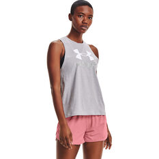 Under Armour Womens Graphic Muscle Tank Grey XS, Grey, rebel_hi-res
