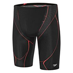 Speedo Mens Kinetic Jammer Swim Shorts Black / Red 14 Adult, Black / Red, rebel_hi-res